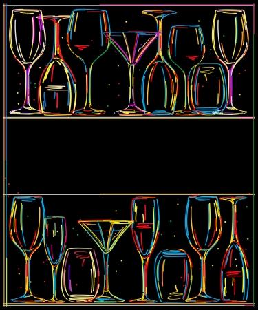 Menu restaurant card with stylized glasses 일러스트