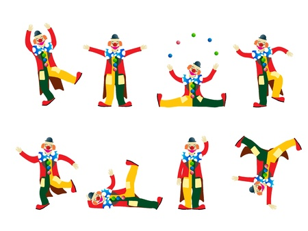 circus artist: Circus clown collection, isolated objects on white background Illustration