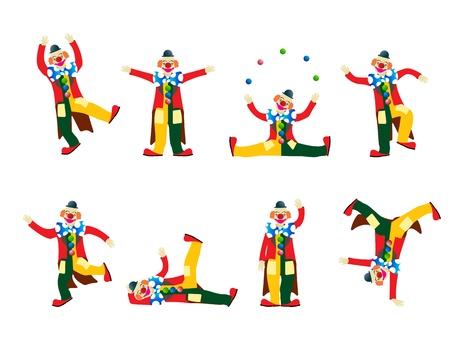 clown cirque: Clown de cirque collection, des objets isol�s sur fond blanc Illustration