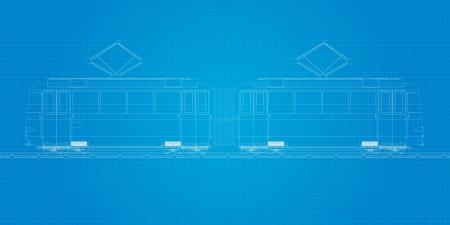 tramcar: Tramcar bluprint, abstract art illustration