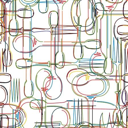 Cutlery seamless pattern, abstract art background 일러스트