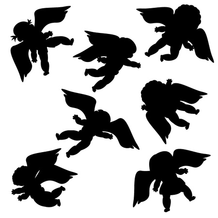 Flying angels silhouettes against white background Vector