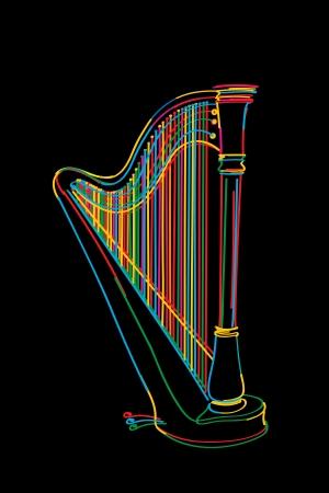 the harp: Boceto arpa Decorado en colores sobre el negro