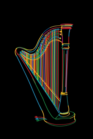 harp: Decorated harp sketch in colors over black Illustration