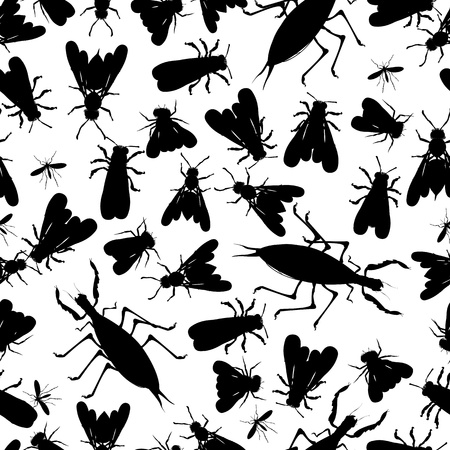 Seamless pattern with insect silhouettes Vector