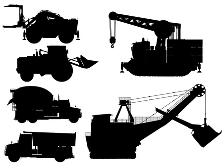 Mining and construction machine silhouettes over white background Stock Vector - 20015513