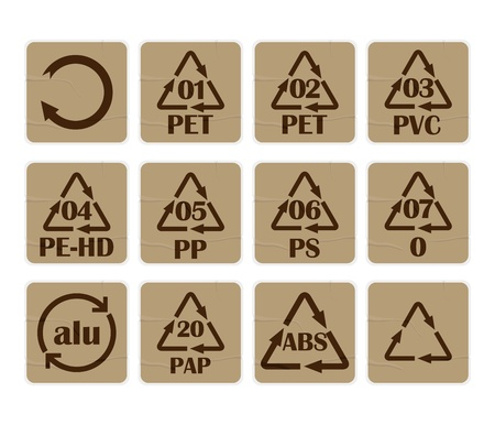 polystyrene: Collection of recycling codes for paper and plastic against white background Illustration