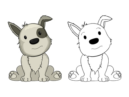 Cartoon puppy drawing on white background Vector