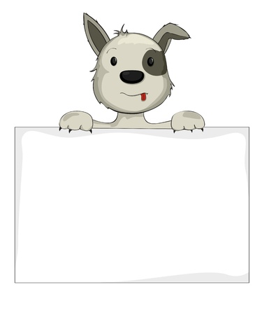 Illustration of a dog holding banner Vector