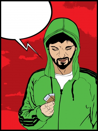 heroin: Comic style drawing of  a  drug addict man and a speech bubble
