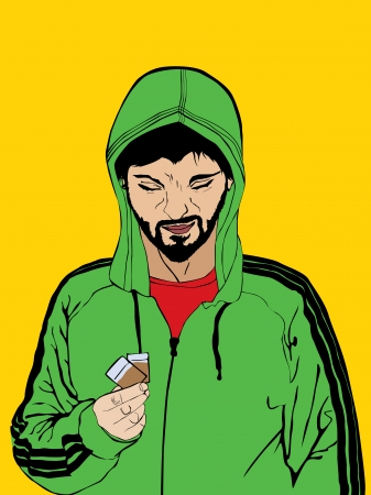 menacing: Illustration of a drug dealer