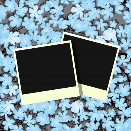 Decorative design with old photo frames and flowers Vector