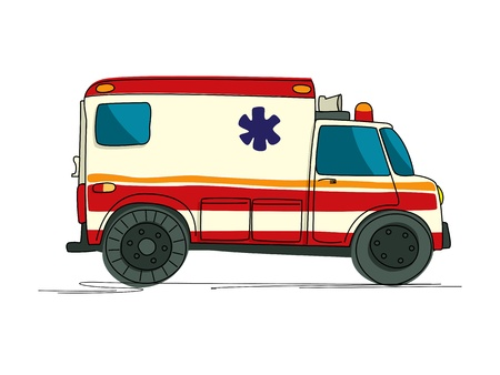 Ambulance cartoon drawing over white Vector