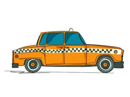 taxi: Cartoon taxi amarillo sobre fondo blanco Vectores