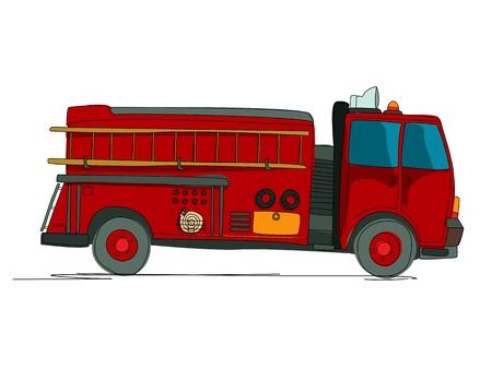 camion pompier: croquis de dessin animé Camion de pompiers sur fond blanc Illustration
