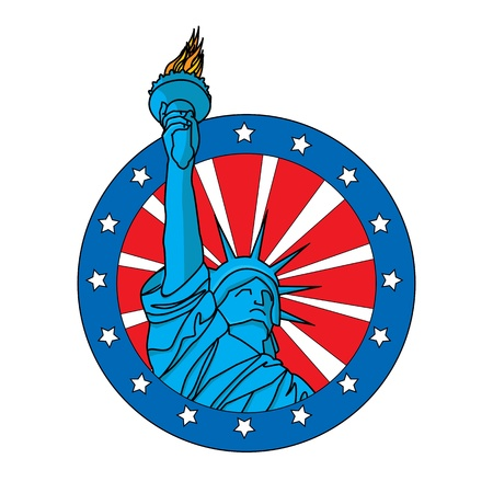 Liberty statue badge, icon on white background Vector