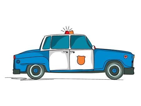 Police car cartoon over white background Vector