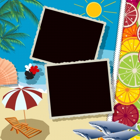 Summer holiday collage with space for photos or text Vector