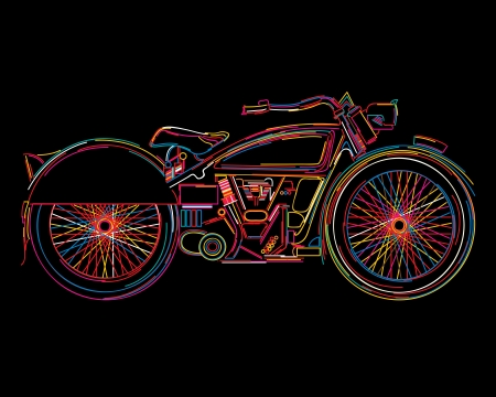 Sketch of a vintage motorcycle in colors Vector