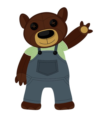 Teddy Bear doll waving and smiling Vector