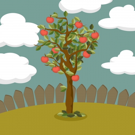fertile: Illustration of a apple tree  Illustration