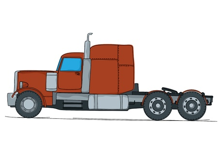 Cartoon drawing of a big red truck, isolaed on white background Vector