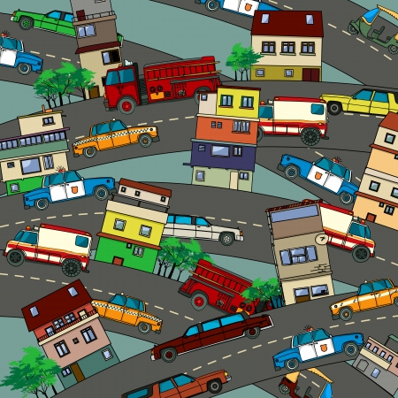 Conceptual illustration of a busy city with streets, cars and houses. Cartoon style drawing. Vector
