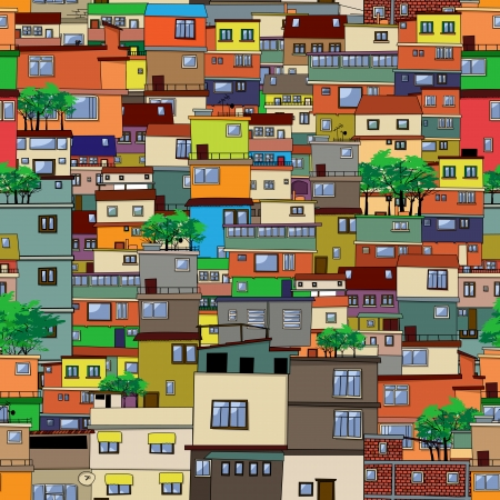 roof tile: Cartoon city, seamless pattern design Illustration
