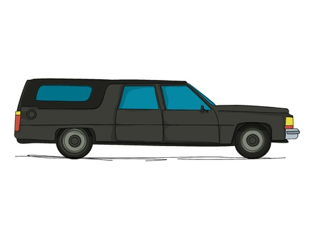 car drawing: Cartoon hearse car against white background Illustration