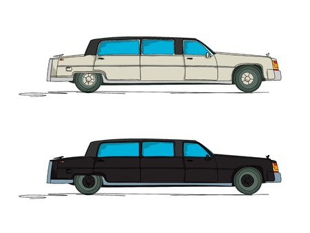 limo: Limousine cartoon over white background