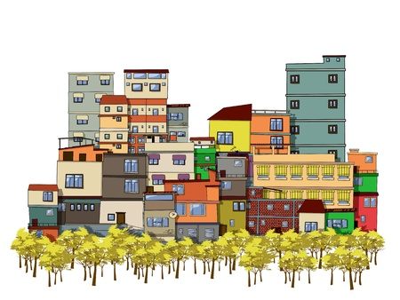 streetlamp: Cartoon drawing of a city with trees and houses Illustration