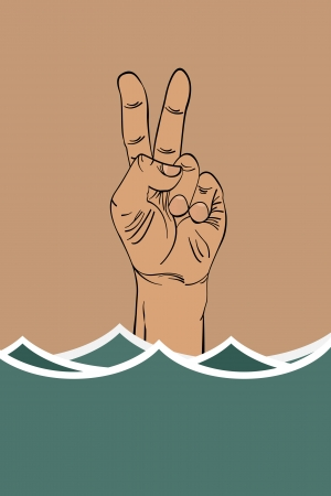 ironic: Ironic victory sign of a drowning hand Illustration