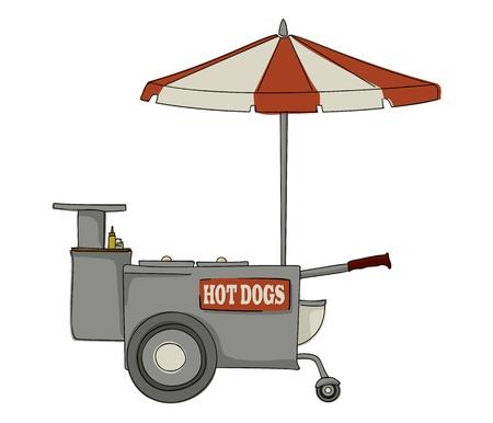 perro caliente: Stand puesto de perritos calientes en el fondo blanco