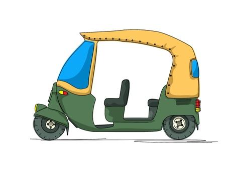Rickshaw cartoon over white background Vector