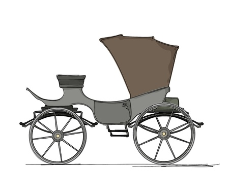 horse and carriage: Royal horse carriage cartoon over white background