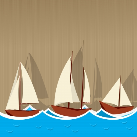 Illustration of three sailing ships, yahcts on a striped background Vector