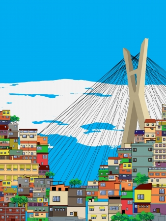 house sketch: Sao Paulo city landscape, cartoon illustration Illustration