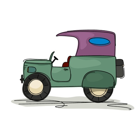 Cartoon style drawing of a vintage retro jeep Stock Vector - 20671477