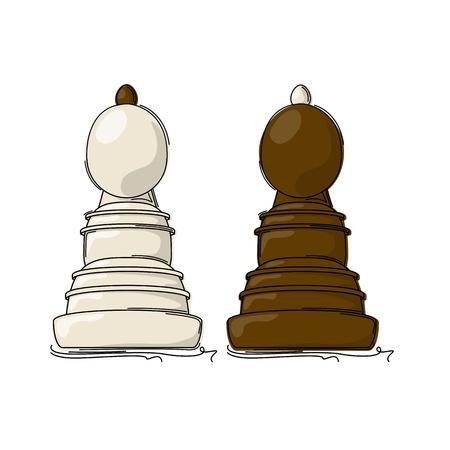 bishop: Chess bishop drawing against white background Illustration