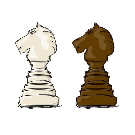 chess knight: Ajedrez dibujo caballero contra el fondo blanco