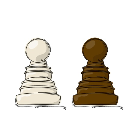 Chess pawn drawing against white background