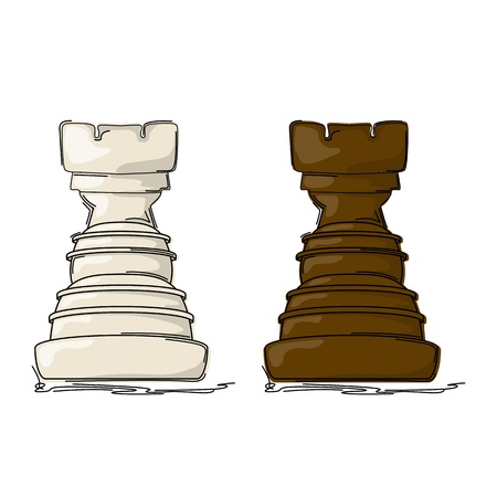 chess rook: Chess rook drawing against white background