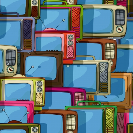 Seamless television sets,  retro style pattern Stock Vector - 20671514