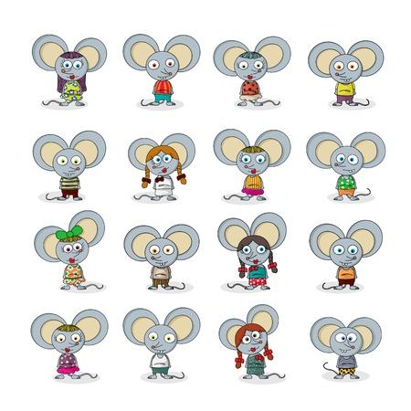 raton caricatura: Divertido de la historieta del ratón contra el conjunto blanco Vectores