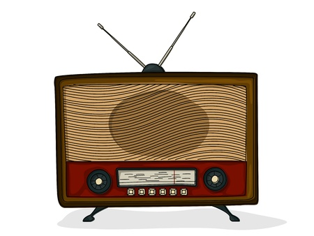 Retro style cartoon radio  drawing over white background Vector