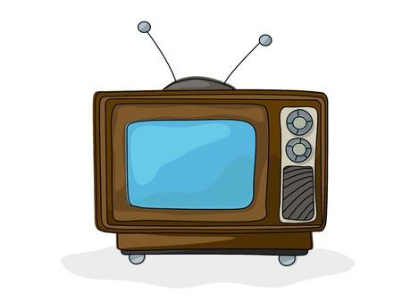 tv retro: Retro style tv drawing over white background