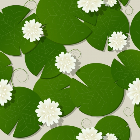 Water lilies design, seamless pattern background 向量圖像
