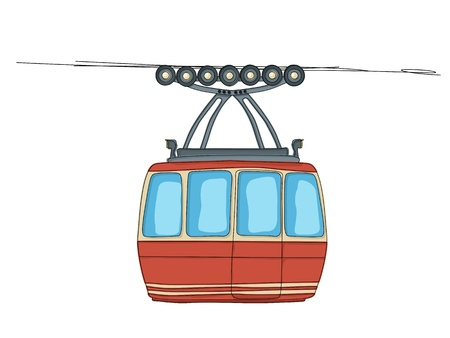 cable car: Cable-car on ropeway cartoon drawing over white background