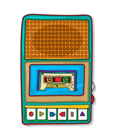 magnetofon: Vintage Audio magnetofon rysunek Funky samodzielnie na białym tle