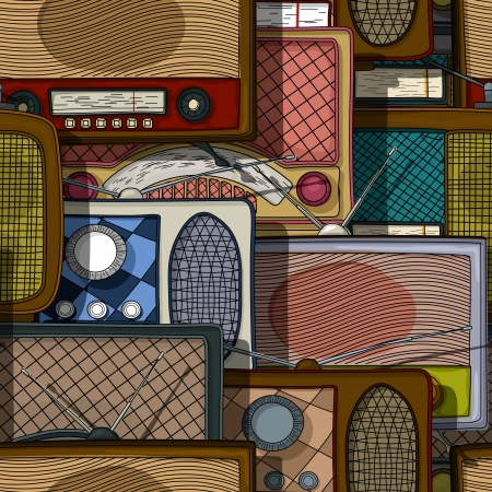 Seamless pattern design with vintage radio Vector